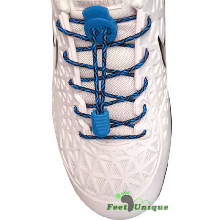 Elastic lock black & blue shoelaces