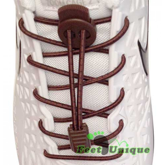 Elastic stripes dark brown shoelaces