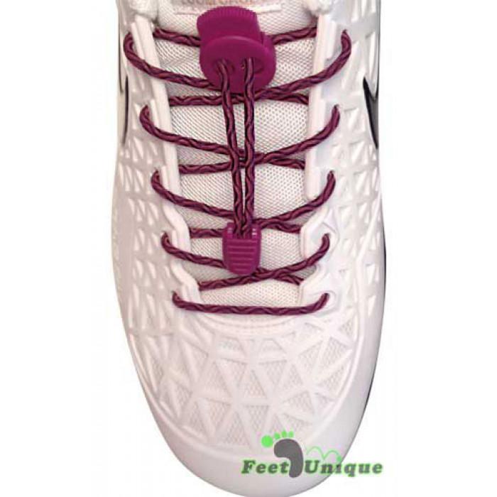 Elastic lock black and hot pink shoelaces
