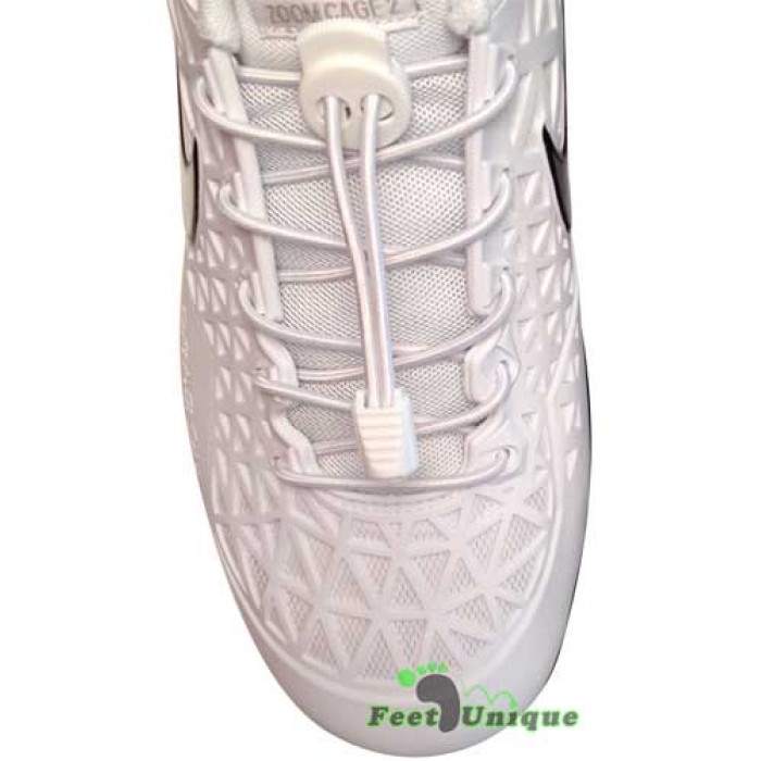 Elastic lock white shoelaces