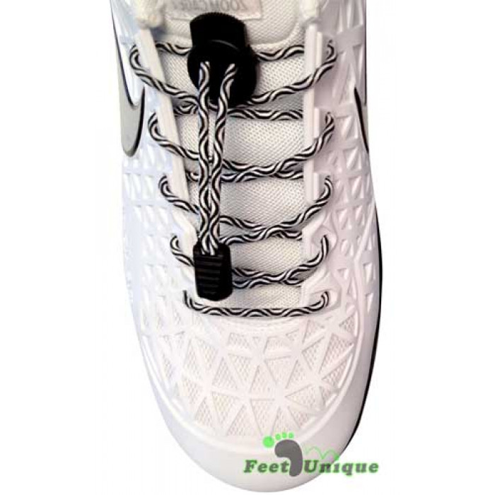 Elastic lock black & white shoelaces