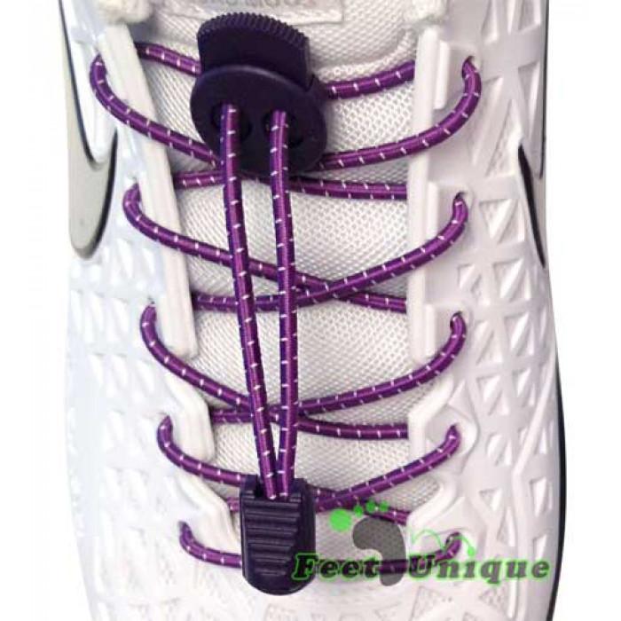 Elastic stripes purple shoelaces