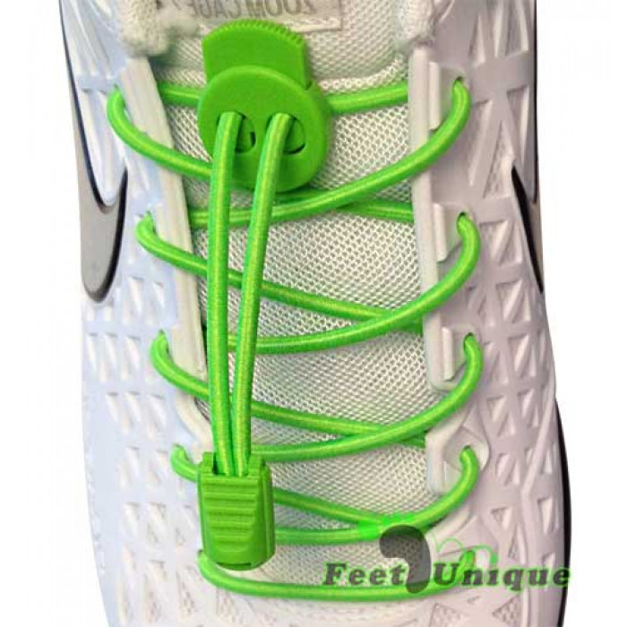 Elastic lock neon green shoelaces