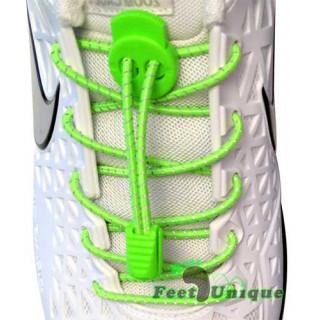 Elastic reflective neon green laces