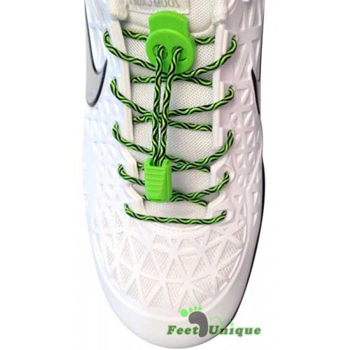 Elastic lock black & green shoelaces