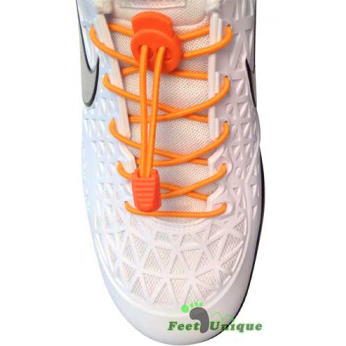 Elastic lock orange shoelaces