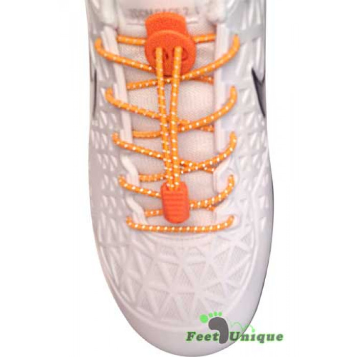 Reflective lock orange shoelaces