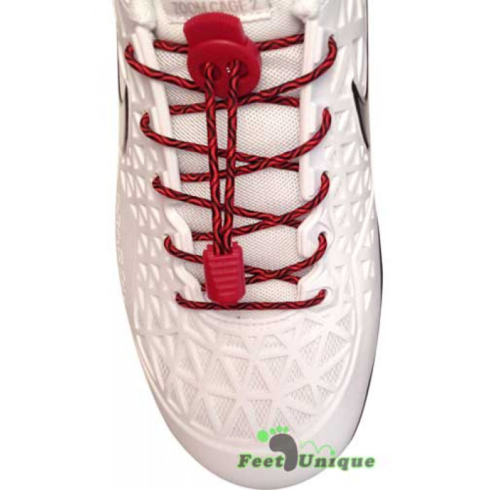 Elastic lock black and red shoelaces