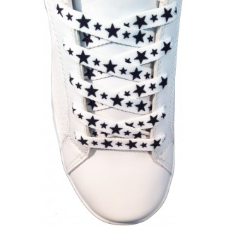 Shoelaces - 10mm White With Black Stars