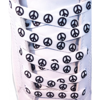 White peace shoelaces