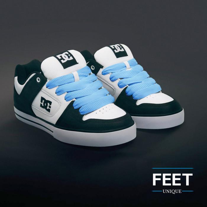 Super wide light blue shoelaces