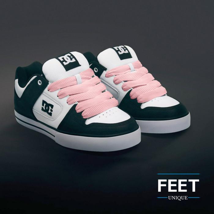 Super wide pink shoelaces