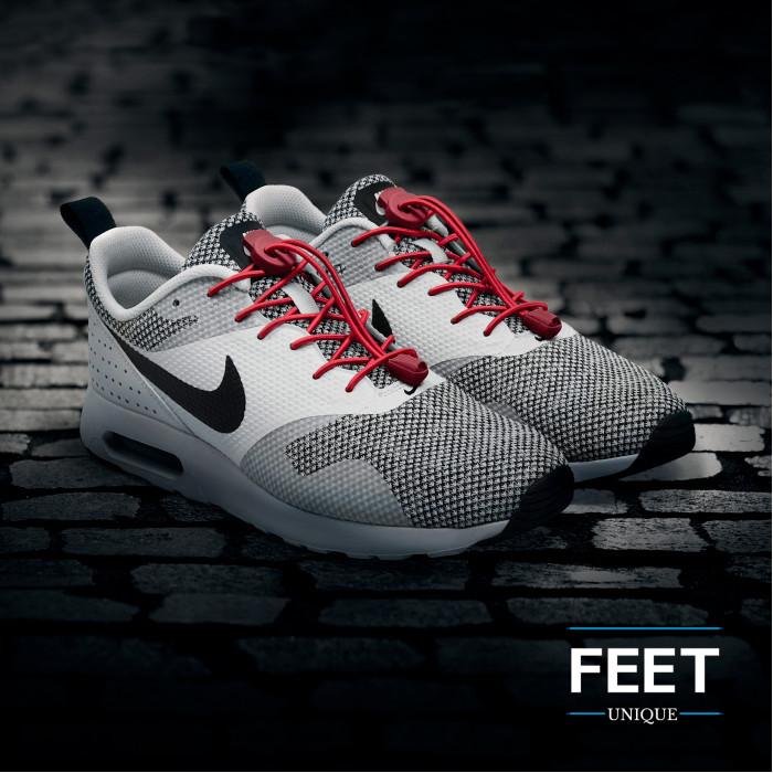 Elastic lock red shoelaces