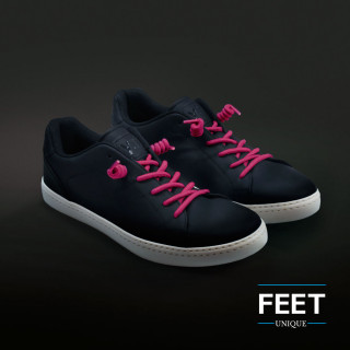 Hot pink curly shoelaces