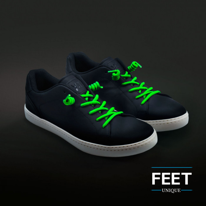 Neon green curly shoelaces