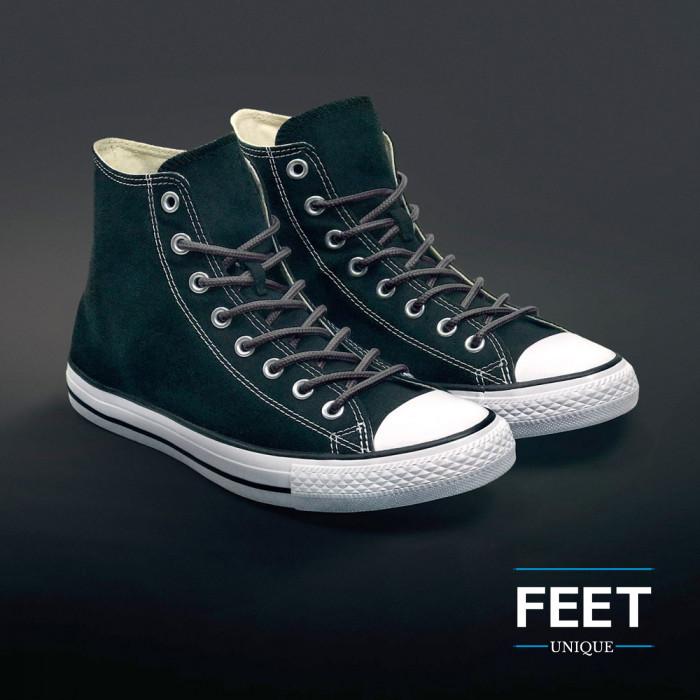 Round dark gray shoelaces