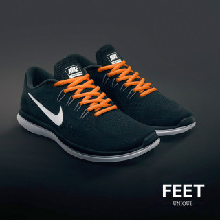 Oval orange shoelaces