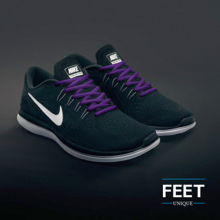 Oval purple shoelaces
