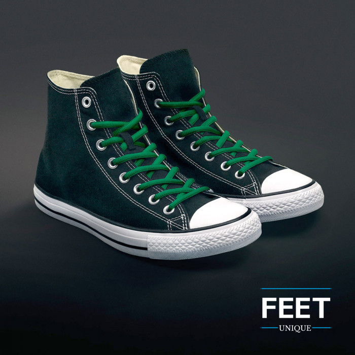 Oval green shoelaces