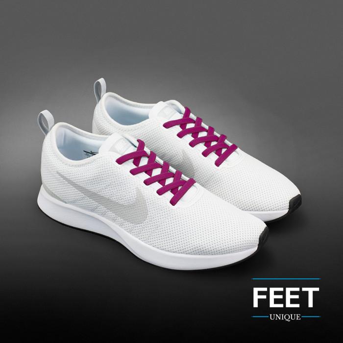 Elastic flat hot pink shoelaces (no tie)