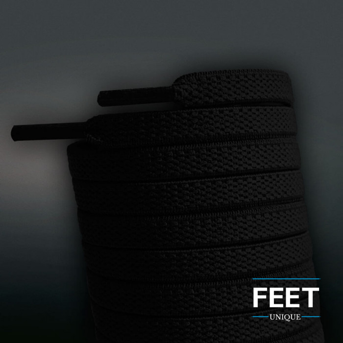 Elastic flat black shoelaces (no tie)