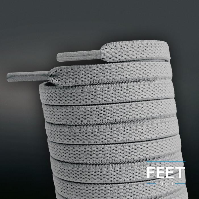 Elastic Flat Light Gray Shoelaces (No Tie)