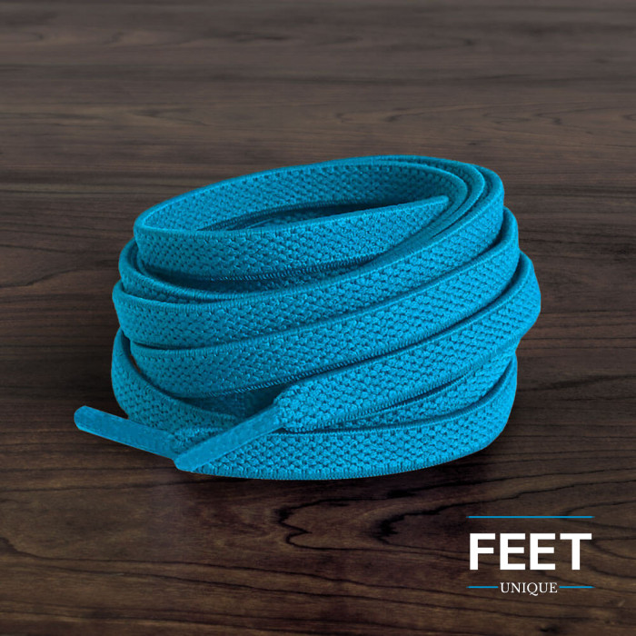 Elastic turquoise-blue shoelaces (no tie)