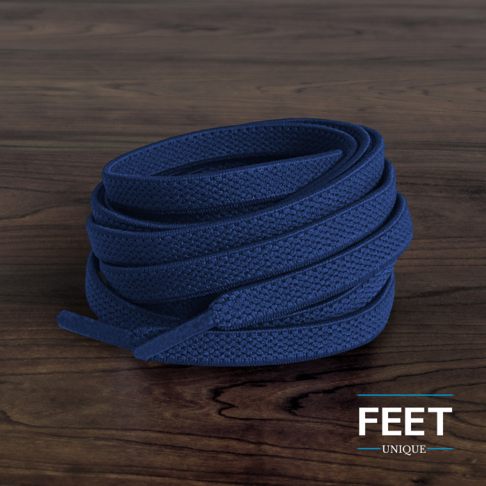 Elastic Flat Navy Blue Shoelaces (No Tie)
