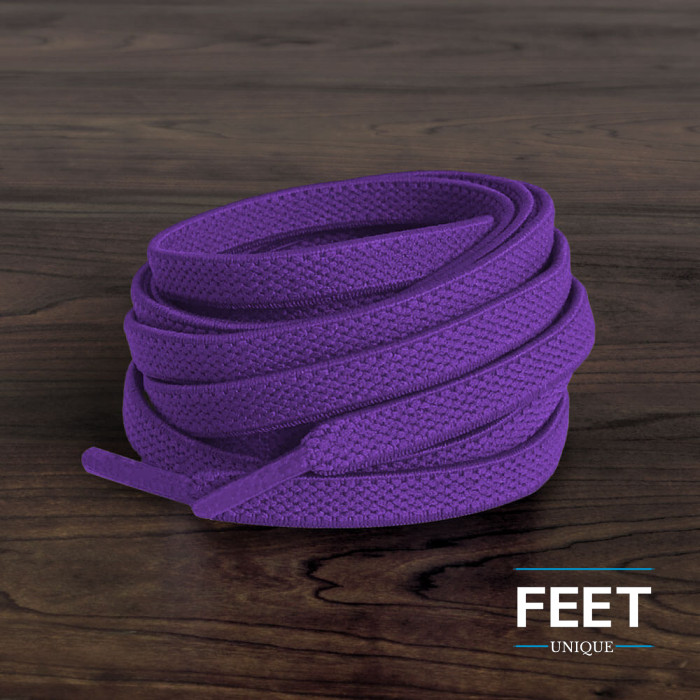 Elastic flat purple shoelaces (no tie)