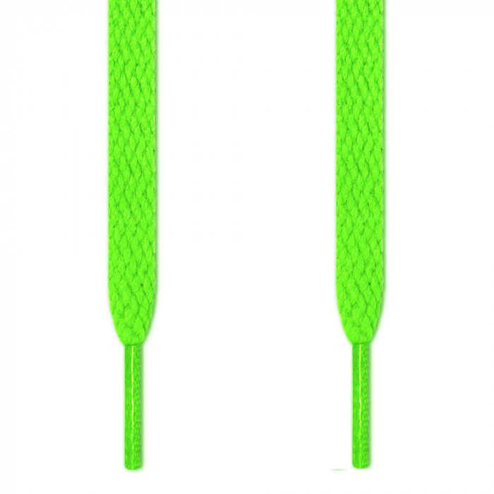 Flat neon green shoelaces