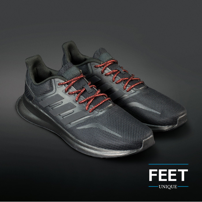 Adidas Yeezy - Rope Laces Black and Metallic Red